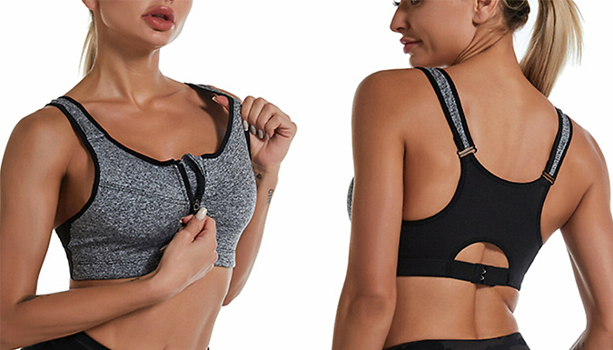 Breathable Front Zip Padded Sports Bra - 4 Colours & 5 Sizes