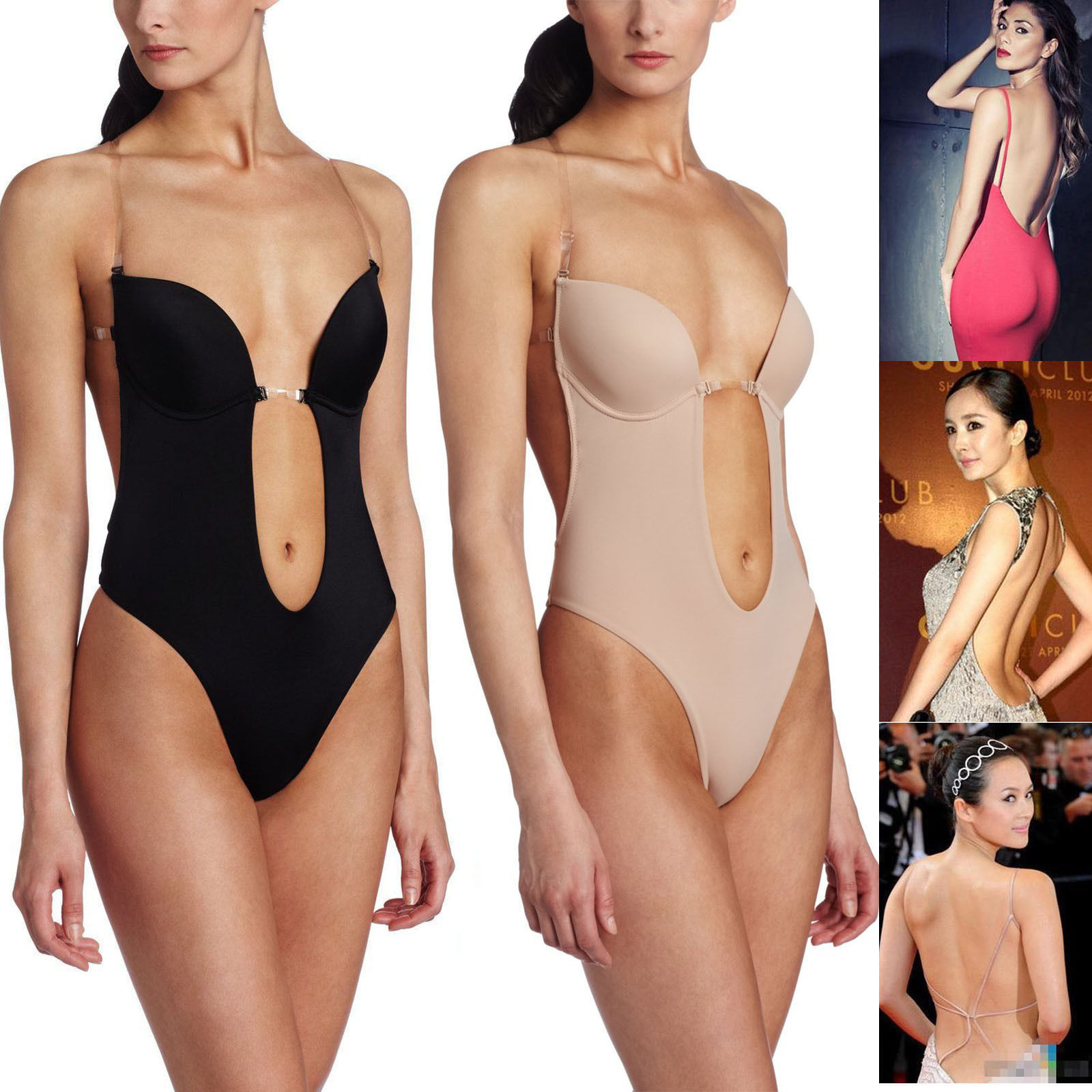 Backless Full Body Shaper Thong Convertible Seamless Low Back Max Cleavage Bra